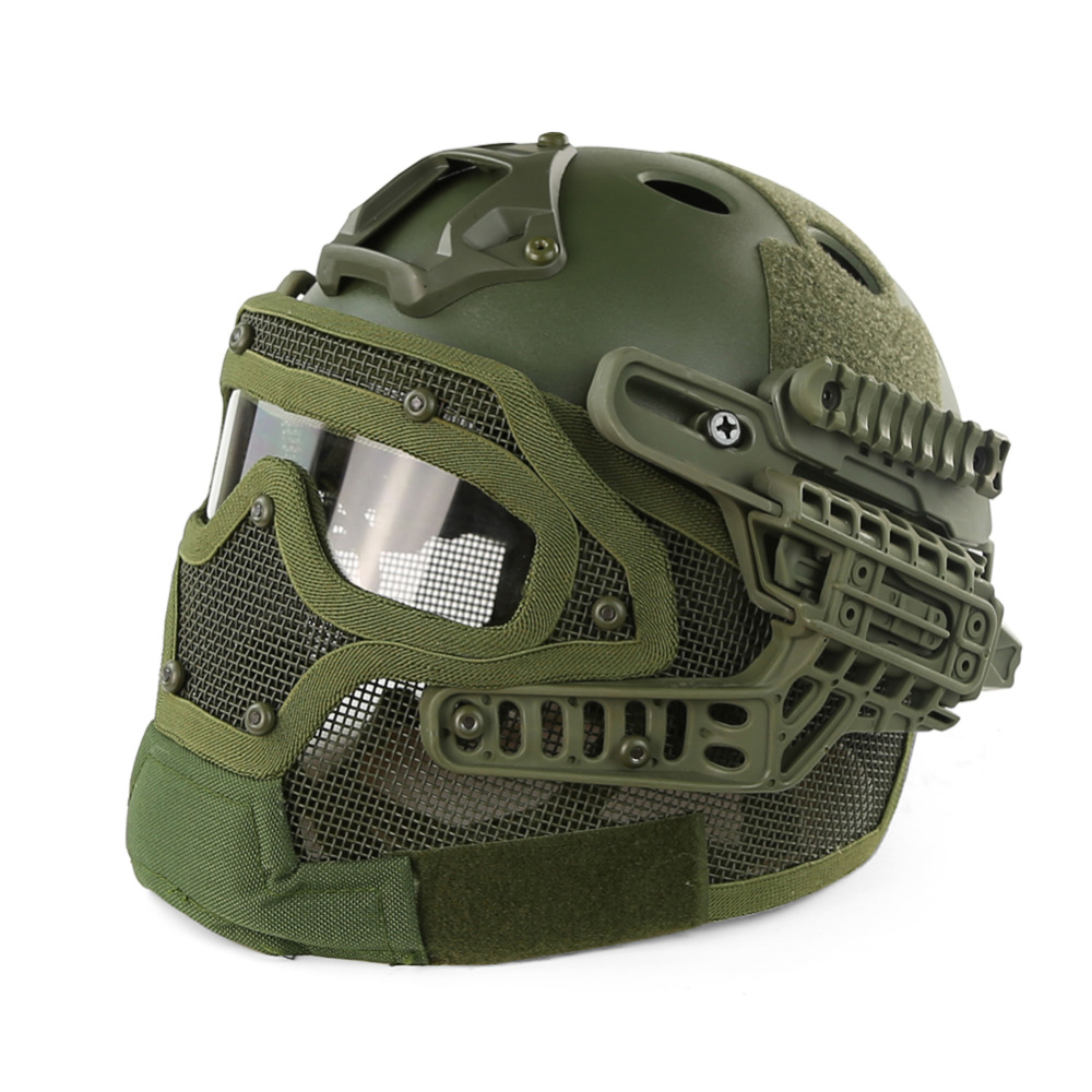 2017 New Army Green PJ Type FAST Molle Tactical Helmet Combined With Full Mask and Goggles for Airsoft Paintball CS Hunting kryptek green pj type fast molle tactical helmet combined with full mask and goggles for airsoft paintball cs hunting