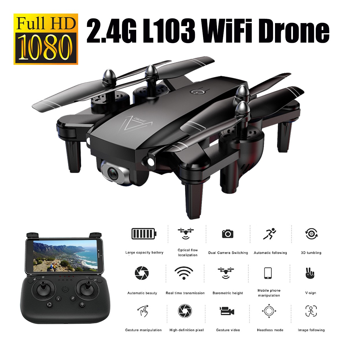 WOLFGANG 1080P GPS Drone With Camera Rc Helicopter 2.4G Optical Flow Position
