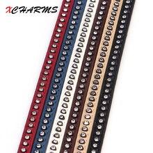 Xcharms 6 ملليمتر/الجلود الحبل حبل/الكريستال الحفر/الملحقات أجزاء/النتائج مجوهرات/اليد/صنع المجوهرات/سوار المواد