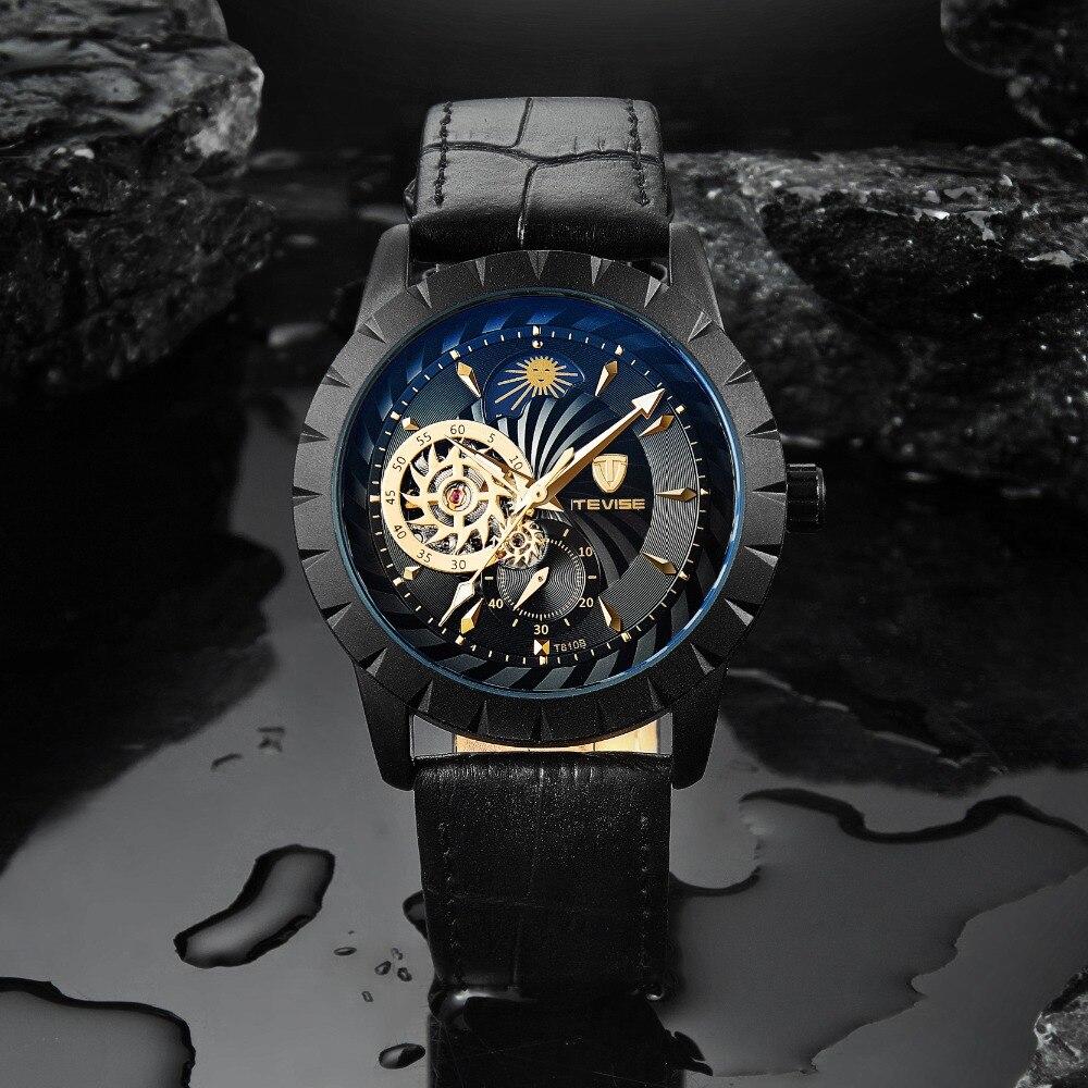 Tevise Black Leather Mechanical Automatic Watch Men Business Tourbillon Moon Phase Skeleton Wristwatches Relojes Hombre 8383D цена