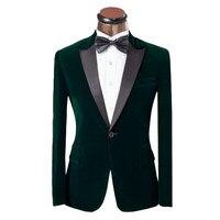 Peak Lapel Dark Green Velour Coat Slim Fit Men Suit Men Velvet Formal Prom Performance Groom Wedding Tuxedos 2017(Jacket+Pants)