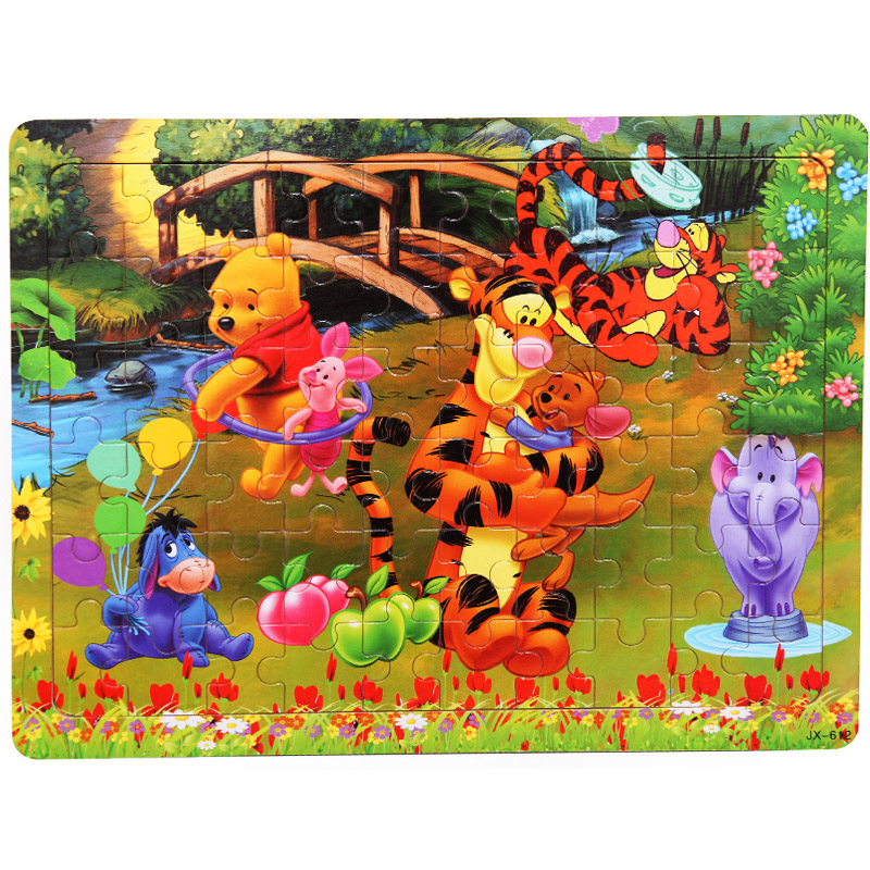 Free Shipping Kids Toys 60 Pieces Of Wooden Puzzle, Cartoon Puzzle, Baby Early Childhood Educational Toys