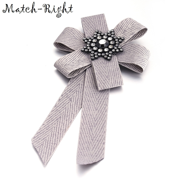 Match-Right Woman & Man Brooches Long Ribbon Big Stripe Bowknot Shirt's Bow Tie Pins Collar Accessories Fashion Jewelry SP245
