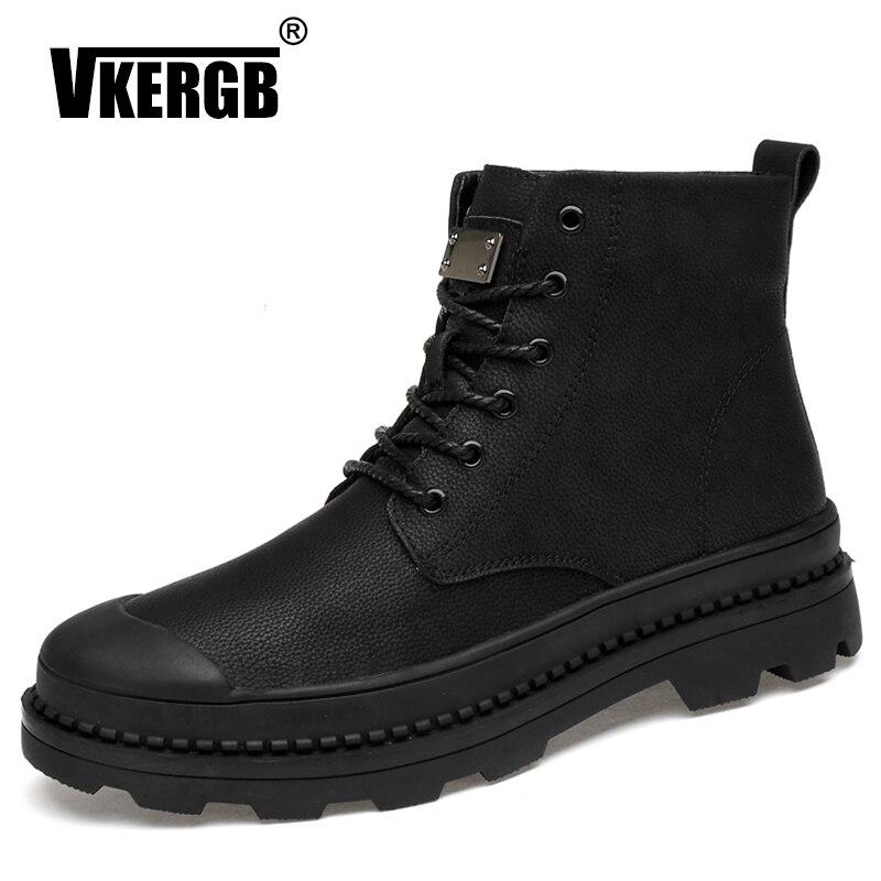 VKERGB Winter Fur Warm Snow Boots Black Fashion Men Boots Plush Fur Warm Waterproof Male Brand