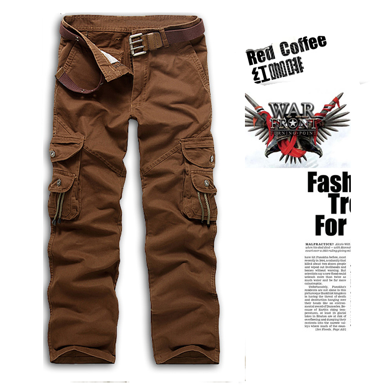 Loose Summer Men Multi Pockets Causal Pants Full Length Army Style Overalls Cargo Pants 4 Colors
