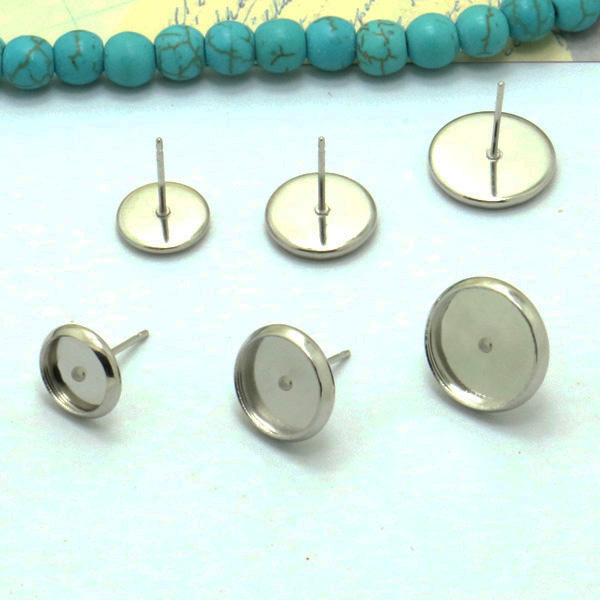 40pcs/lot Stainless Steel Blank Earring Base 6 8 mm Cabochon Cameo Settings Bezel Tray DIY Jewelry Making цена