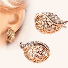 Fashion Women Lover Hollow Leaf Rhinestone Earrings Jewelry