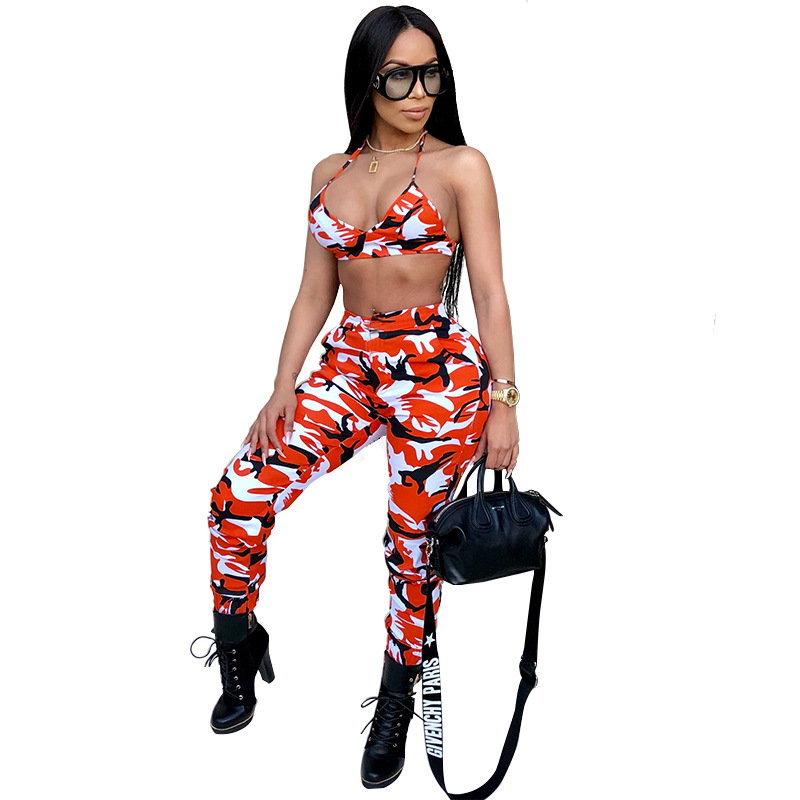 <font><b>2018</b></font> New <font><b>Camouflage</b></font> 2 Piece Set Women Two Piece Outfits Bra Crop Tops Bodycon Skinny Pants Women Sets Ladies Suit <font><b>Sexy</b></font> Clubwear image