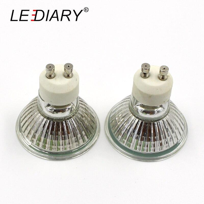 LEDIARY 10PCS/Lot Dimmable GU10 Halogen Spot Light 220-240V 35W 50W Super Bright Halogen Bulbs Cup Shape Lamp Clear Quartz Glass