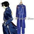 Anime Fullmetal Alchemist Cosplay Roy Mustang trajes uniforme militar terno casaco + calça + avental