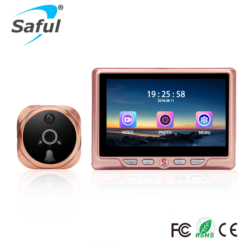 Saful 4.3 LCD Screen Digital Peephole Camera 3000mAh 120 Degree Door Camera Video Recording Motion Detect Door Peephole ViewerSaful 4.3 LCD Screen Digital Peephole Camera 3000mAh 120 Degree Door Camera Video Recording Motion Detect Door Peephole Viewer