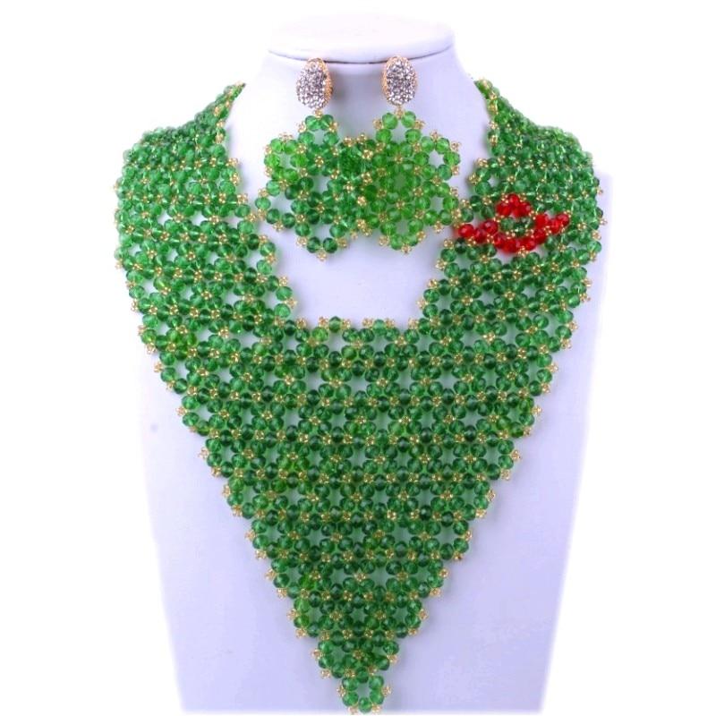 Ensemble de bijoux nigérians pour femmes Triangle vert perles africaines bijoux collier Bracelet boucles d'oreilles ensemble cadeau mariée dames ensemble 2018
