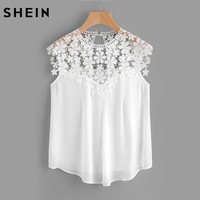 SheIn Keyhole Back Daisy Lace Shoulder Shell Top Summer Blouses For Women 2017 White Cap Sleeve