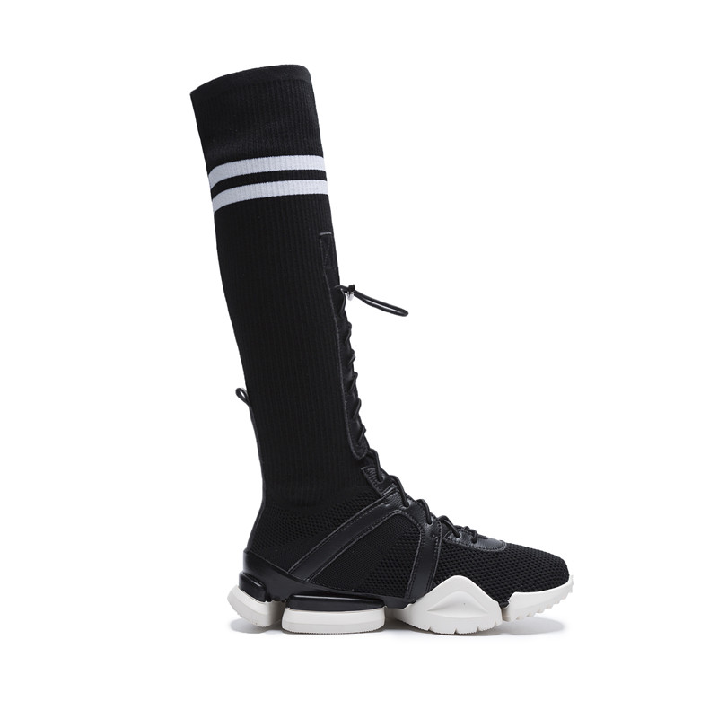 cc2624946 Cross Strap Long Socks Boots Sneakers Women s Stretch Knitting Knee High  Boots Snickers Woman Flats Casual Shoes White Trainer-in Knee-High Boots  from Shoes ...