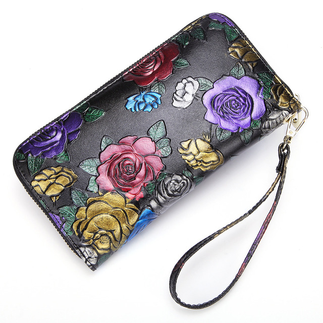 New Women Cowhide Long Wallet Handy Bag Rose Pattern Retro Coin Cash Card Holder Genuine Leather Wrist Clutch Bags Money Purse