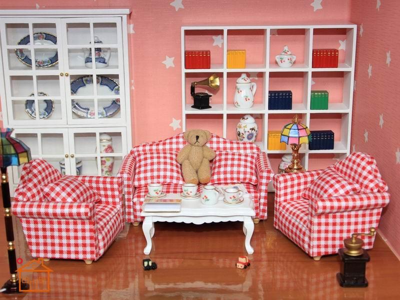 1:12 Dollhouse Living Room Sofa Table furniture Doll Play Armchair ...