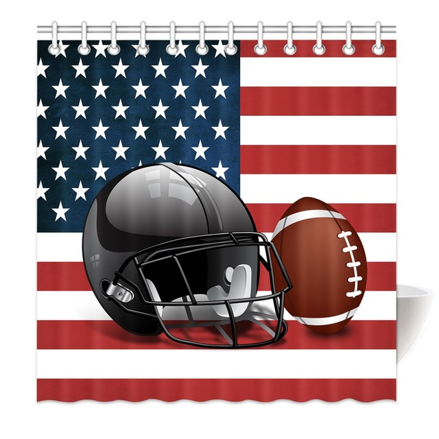 HommomH Shower Curtain Weights Resistant Waterproof Fabric With Hooks Bathroom American Flag Football Helmet And Rugby