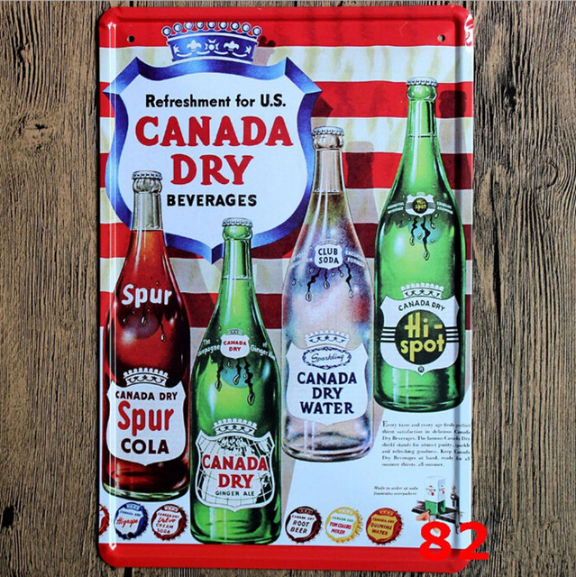 Refreshment For Canada Dry Beverages Beer Metal Crafts 20*30 Shabby ...