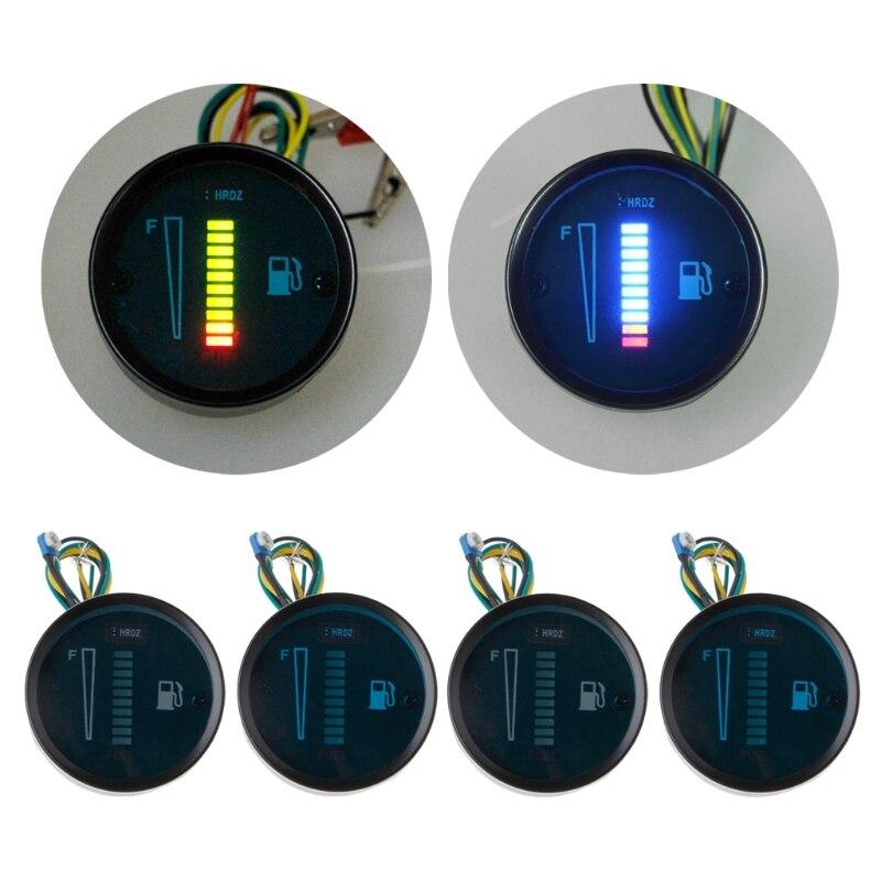 """1pcs New 2"""" 52mm Universal Car Motorcycle Fuel Level Meter Gauge 8 Led Light Display 12v"""