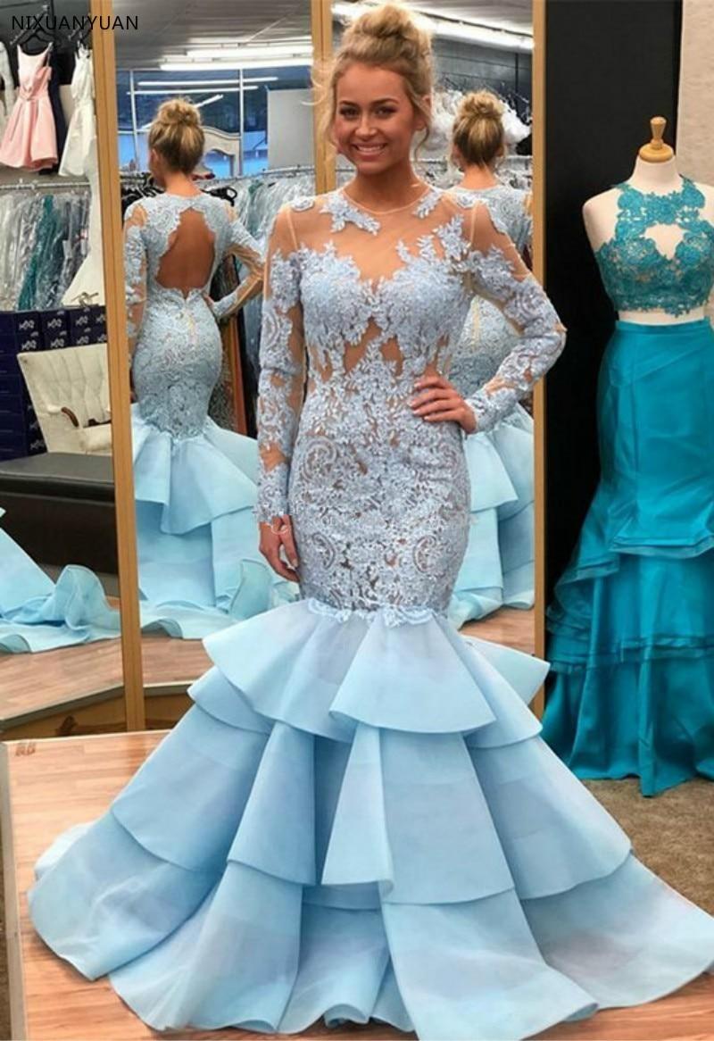 Robe De soirée manches longues sirène robes De soirée col transparent dentelle Organza dos nu bleu Robe De soirée robes De bal Robe formelle