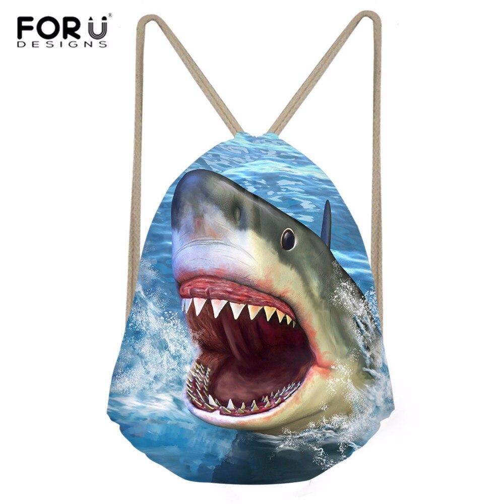 FORUDESIGNS Drawstring Bag Mens Sports Gym Bag Shark Dolphin Fish Men's Backpack Outdoor Gym Sack Shoes Storage Softback Bolsa