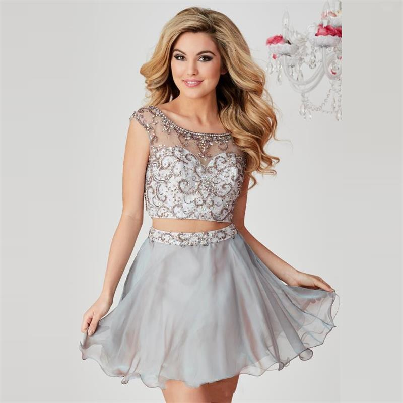 Two Piece Short Silver Homecoming Dresses 2016 Cap Sleeve Beaded Prom Dress Sexy Illusion Neck