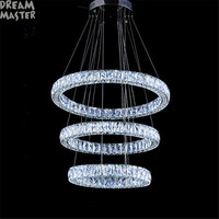High End Crystal Chandeliers Villa Living Room Long Crystal Ring Diamond Three Sides Hotel Industrial Lustre