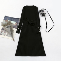 Female temperament cultivate one's morality dress 2018 new winter knitting sweater long dress render wool dresses