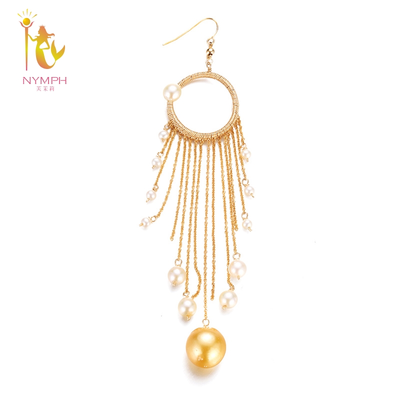 [NYMPH] Fine Jewelry Long Tassel Pearl Earrings Natural Big Baroque Pearl Drop Earrings For Women Party E345 yancey original design baroque pearl long tassel star luxurious big drop earrings 9k gold inlay the style of the goddess