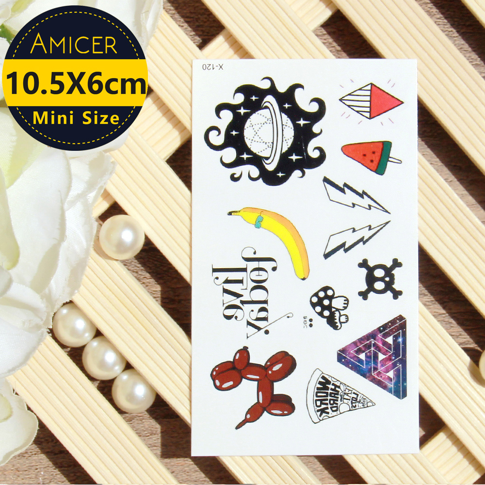 Waterproof Temporary Tattoo Sticker On Body Puppy Balloon Banana Tattoo Water Transfer Fake Tattoo Flash Tattoo For Girl