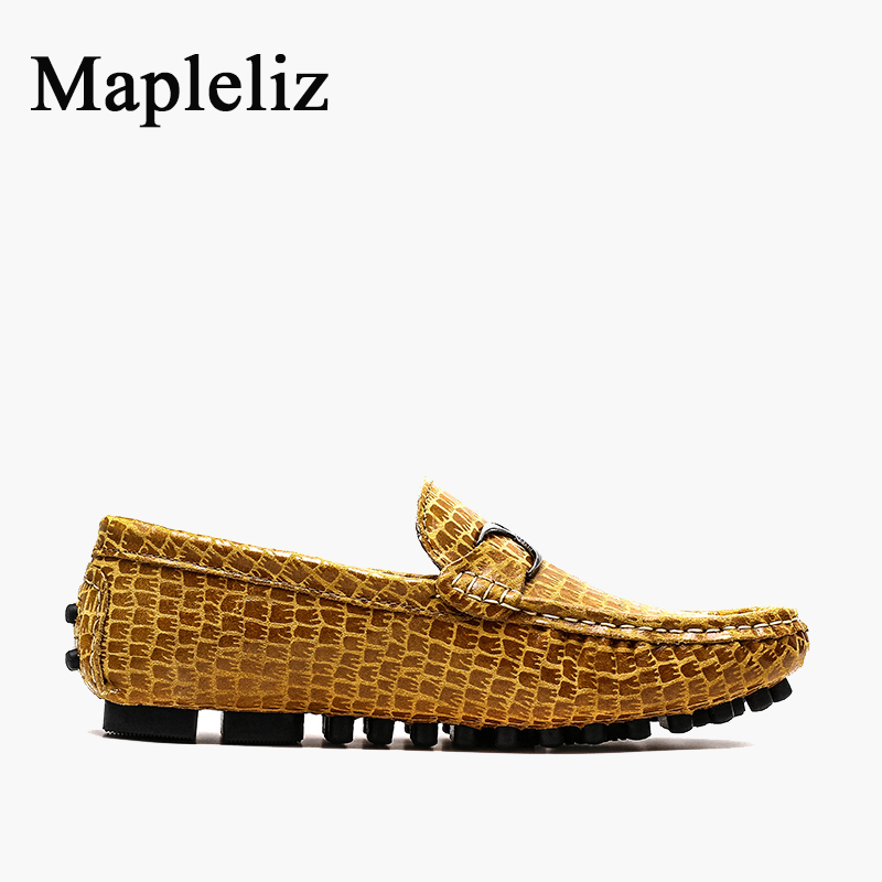 Mapleliz Brand Genuine Leather High Quality Men Moccasins Shoes Slip-On Summer Crocodile Pattern Driving Loafers Shoes For Men cbjsho brand men shoes 2017 new genuine leather moccasins comfortable men loafers luxury men s flats men casual shoes