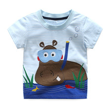 2-7T baby boys new designed blue white striped summer t shirts kids cute cartoon t shirt with printed a lovely hippo new style