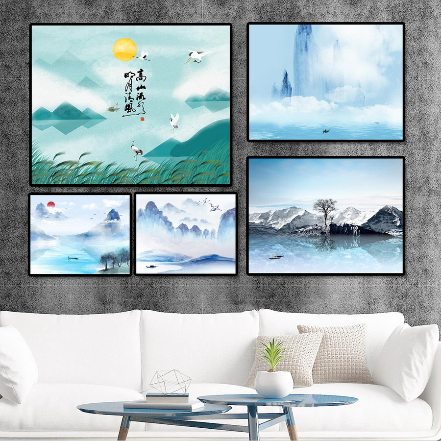 Us 3 9 35 offhome decoration print canvas wall art picture poster paintings horizontal chinese zen blue landscape painting in painting