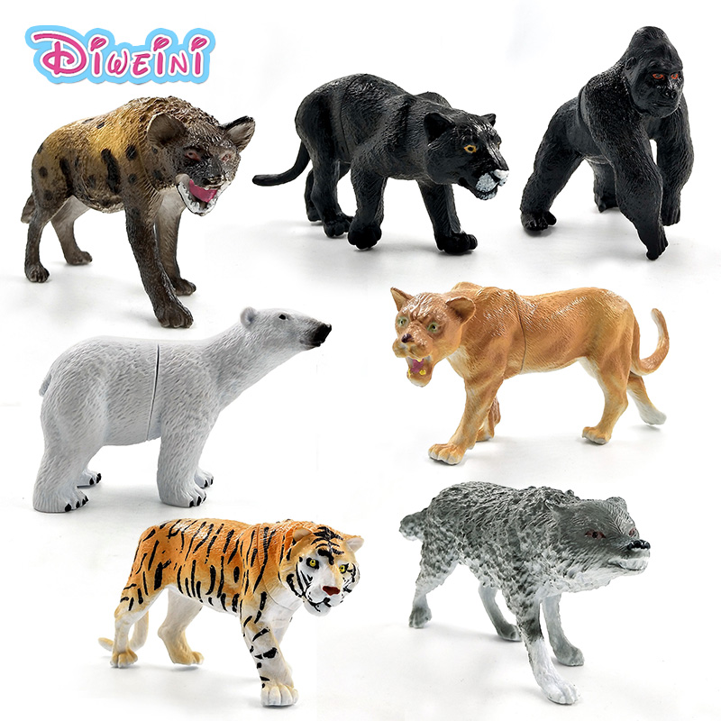 Artificial Chimpanzee Tiger Lion Black Leopard Polar Bear Wolf Panda Hyena Panther Animal Model Action Figure Plastic Decoration