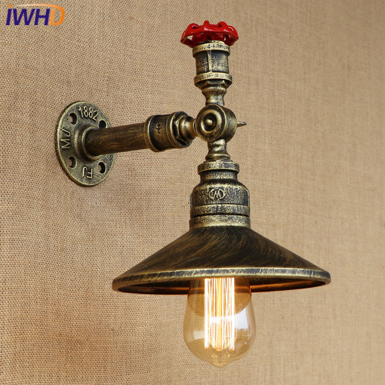 все цены на Vintage Industrial Water Pipe Iron Retro Wall Lamps Loft Antique Wall Light LED Edison Bulb For Living Room Bedroom Restaurant