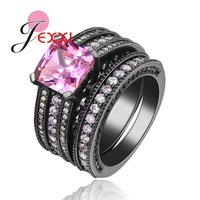 JEXXI Hot Selling Women Girls Cool Fashion Rings Set With Shiny Sqaure Cut Pink Cubic Zirconia