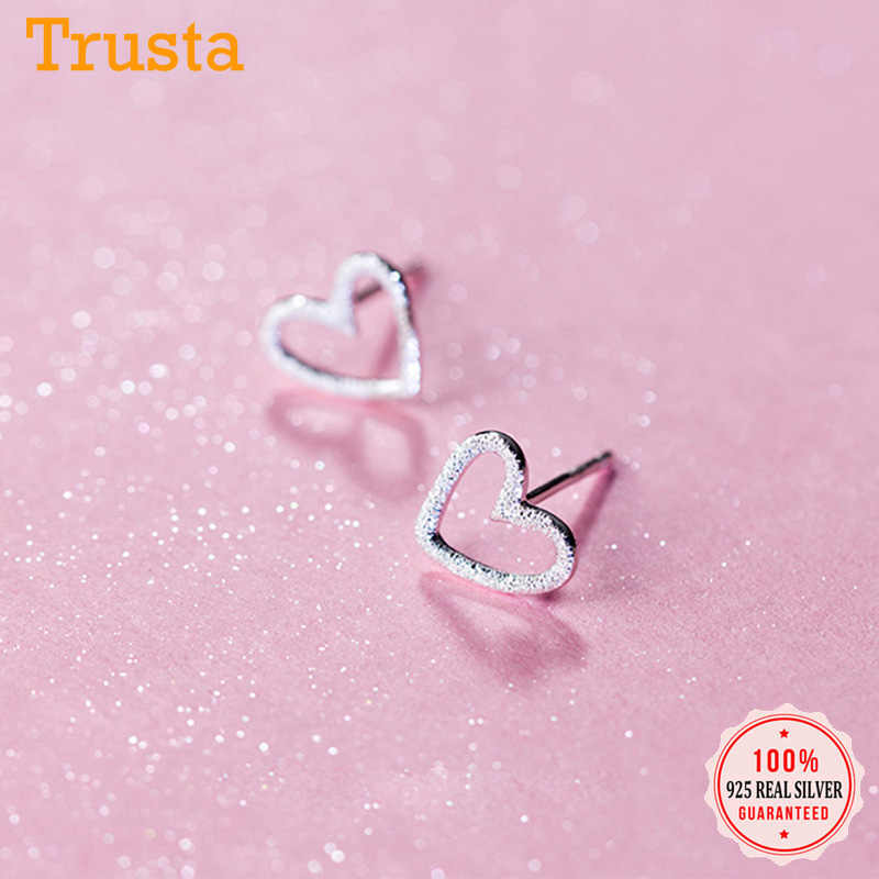 Trusta 925 Sterling Silver Jewelry Women Fashion Cute Tiny Small Heart Stud Earrings Love Gift For Girls Kids Lady DS196