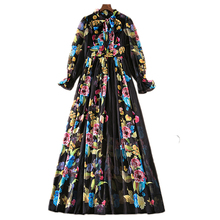 XF 13 S~5XL 2018 High Quality Fashion Designer Summer Bohemian Women Scarf Collar Long Sleeves Thin Model Rose Print Dress