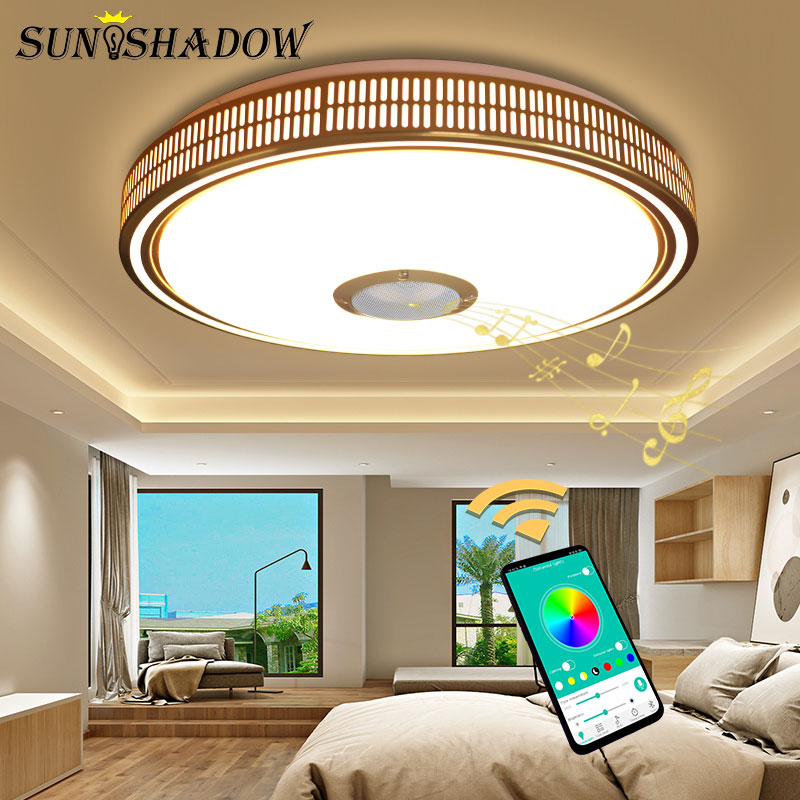 Gold Lights Modern Led Chandelier For Living room Bedroom Acrylic APP Contor Music Lamps Ceiling Chandelier