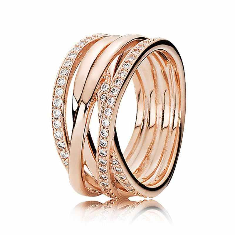 e523f7240 ... 30% 925 Silver Rose Gold Entwining Rings With Crystal For Women Wedding  Party Gift Fine ...