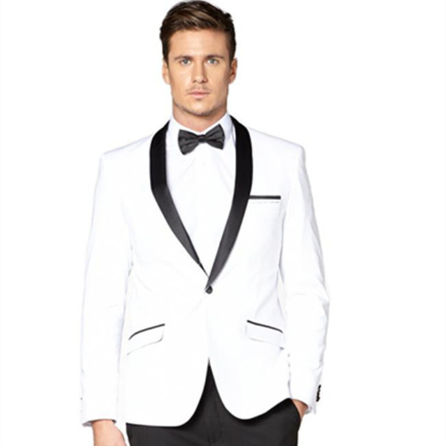 2 Pieces White Tuxedo Jacket Black Lapel Mens Suits Wedding Groom Wear New Designer Custom Made