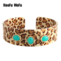 NeeFuWoFu Coffee Tiger printing Resin Bracelets Bangles Woman Open Gradient Manual for National Wind Charm Jewelry Gift