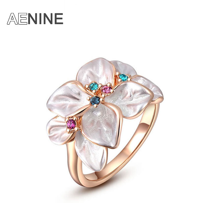 AENINE Exquisite Trendy Colorful Flower Ring with AAA Rhinestone Fashion Jewelry for Women Best Christmas Gift L2010228290