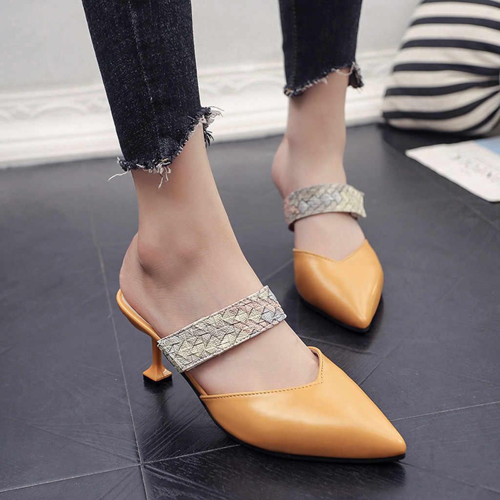 Lüks ayakkabı kadın sandalet sivri yılan tek ayakkabı rahat Stiletto terlik bayanlar ayakkabı haut talon femme bleu # newg25