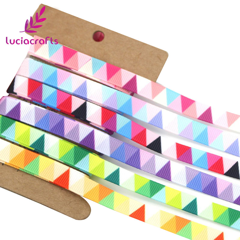 Lucia Crafts 5y/6y 10mm Multi Option Geometric Pattern Grosgrain Ribbon Packing Tape DIY Hair Bow & Sewing Accessories S0609