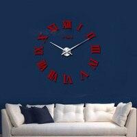 2017 New Wall Clock DIY Large Acrylic Mirror 3D Roman Numerals Design Fashion Art Home Decor