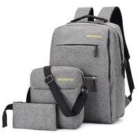 New Anti Theft Polyester Unisex Men Backpack Big Capacity Travel Women Shoulder Bag Men Laptop Daily Pack 15 Inch Backpacks 3pcs