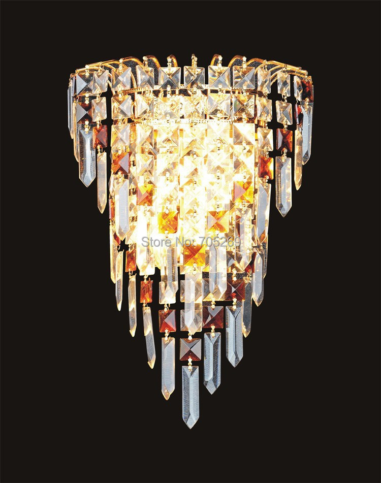 ФОТО Free Shipping Crystal Wall lamp gold modern bed-lighting fashion wall mounted lamps E14 wall Sconces