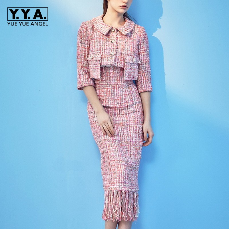 †Big SaleSuits Skirts Outfits Runway Two-Piece-Set Tweed-Jacket Coats Short Tassels Office Womenú