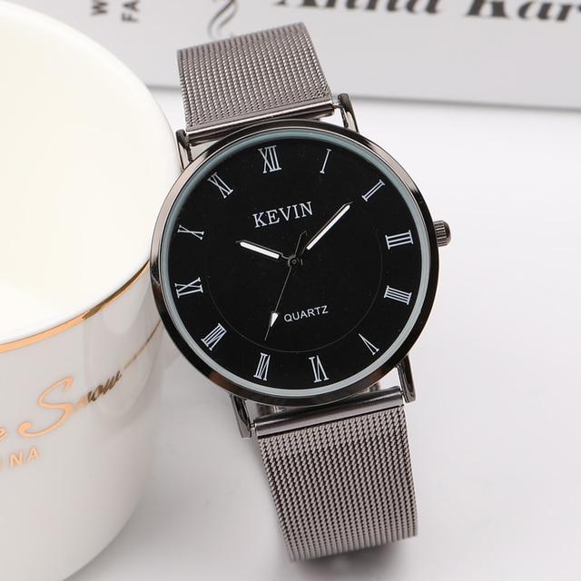 2017 Hot Luxury Ultra Thin Couple Watch Top Brand Mesh Belt Quartz Wristwatch La